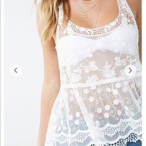 Forever 21 Sheer Floral Embroidered Top